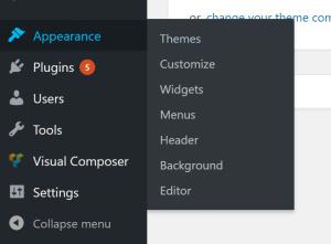 Widgets menu