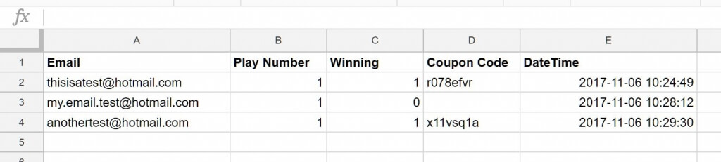 Google sheets final result