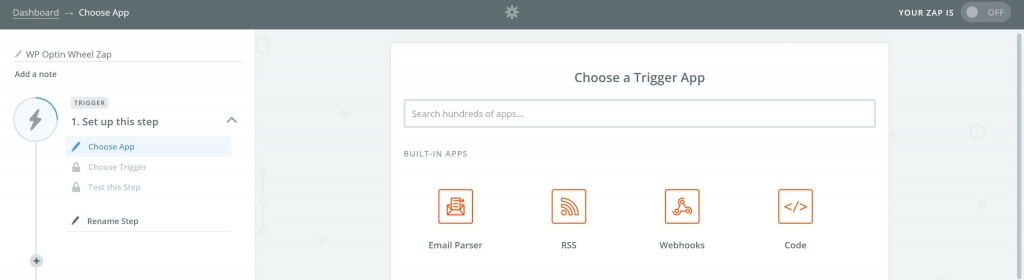 Select trigger app: webhooks