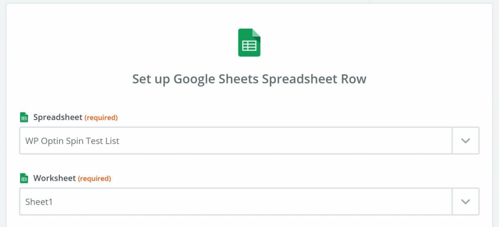 Select google sheet