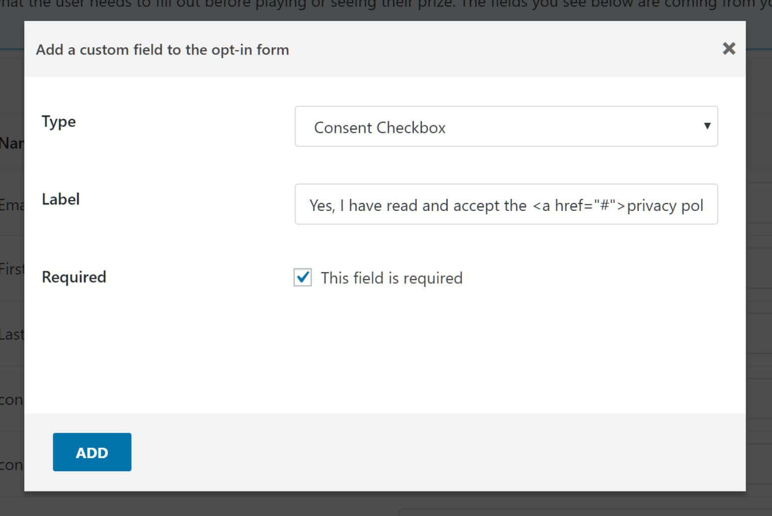 Create a consent checkbox