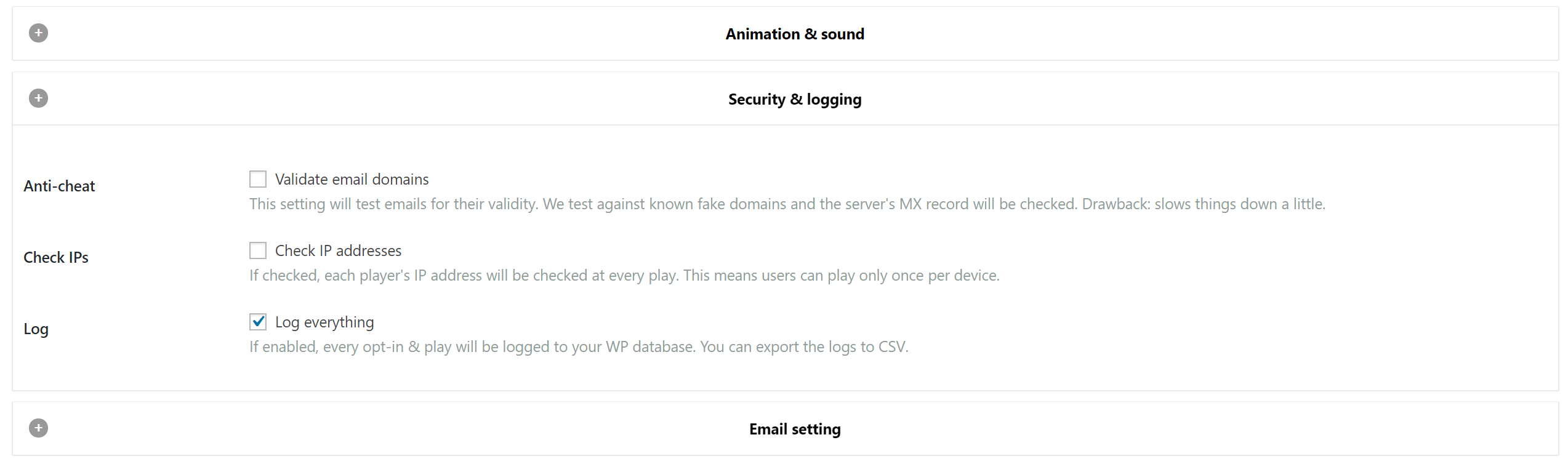 Log everything setting in WP Optin Wheel