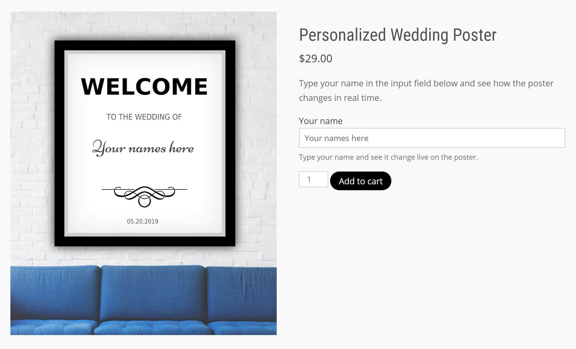 A wedding poster you can personalize