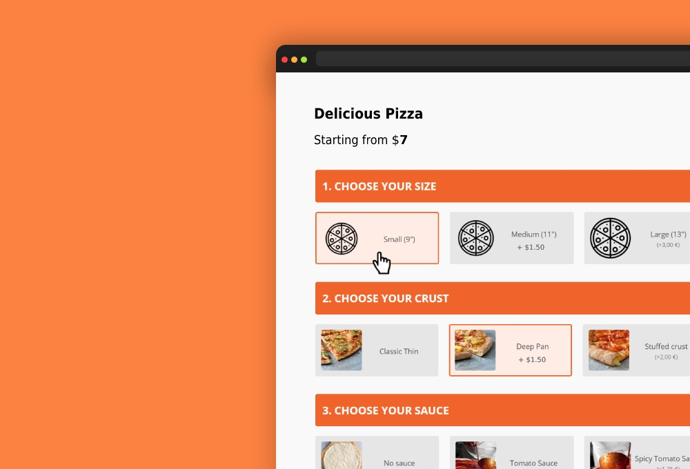 pizza configurator illustration