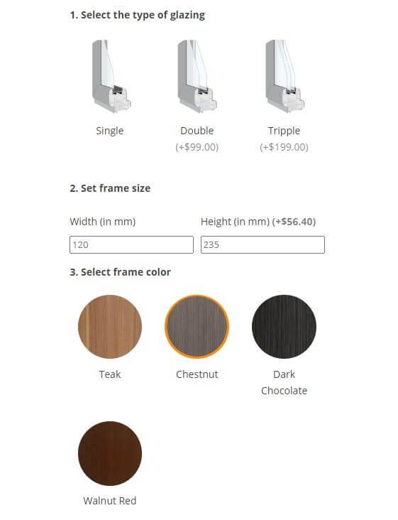 Wooden window configurator for WooCommerce example