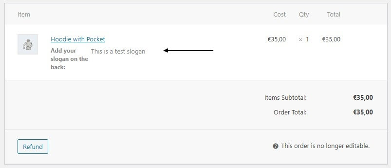 text field in order woocommerce