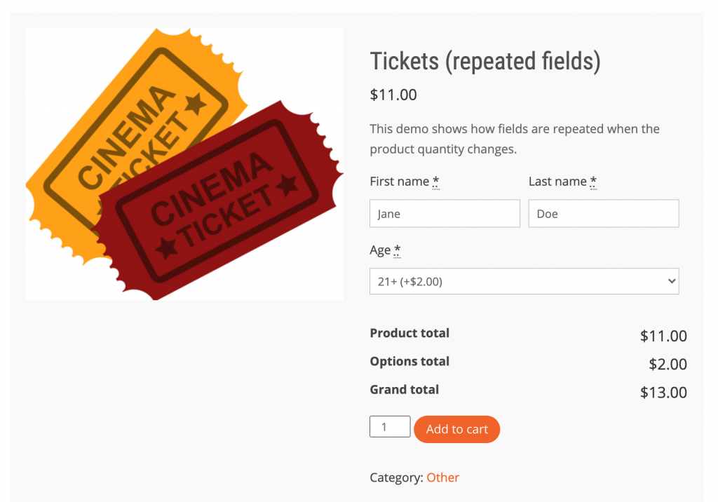 example of selling tickets online with WooCommerce