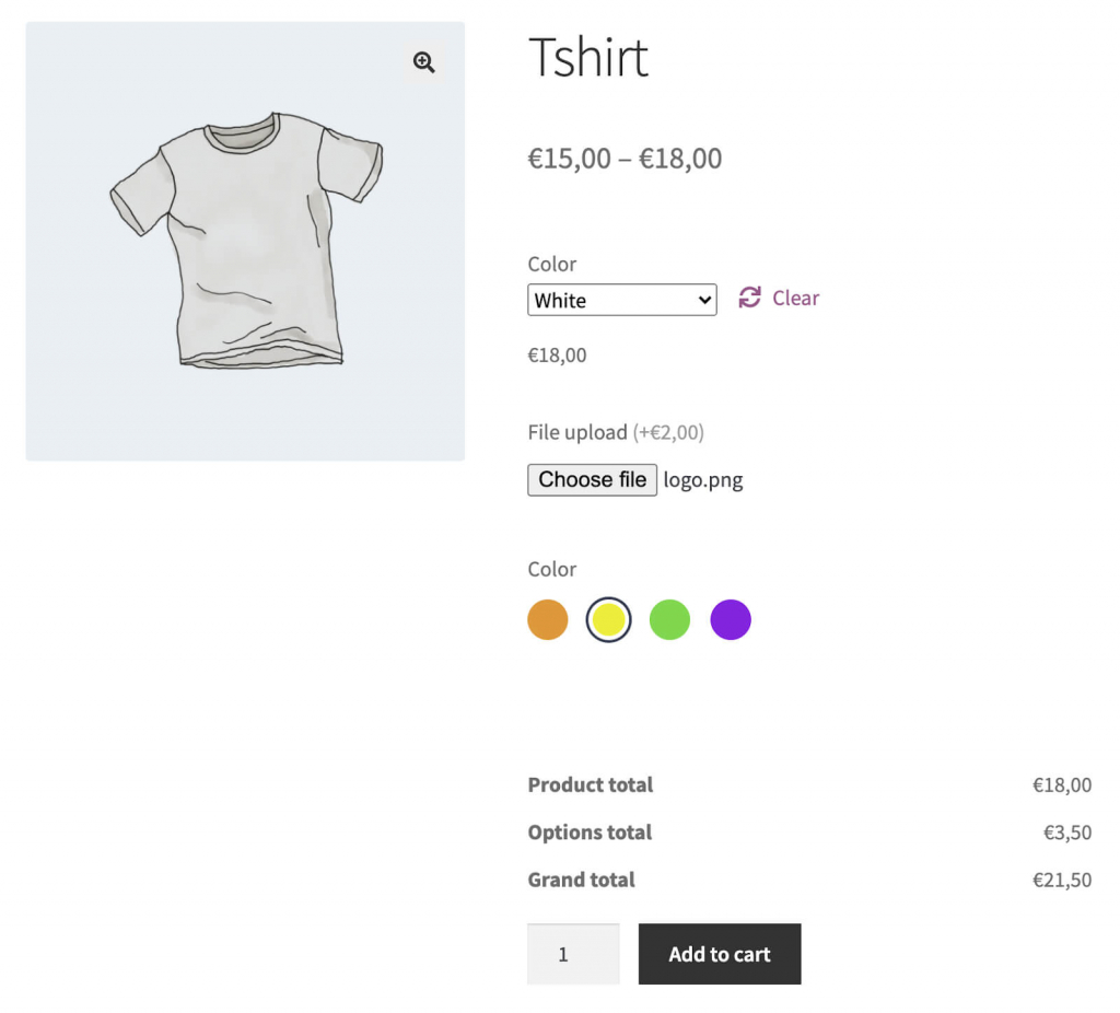 Example of advanced product fields on your product page