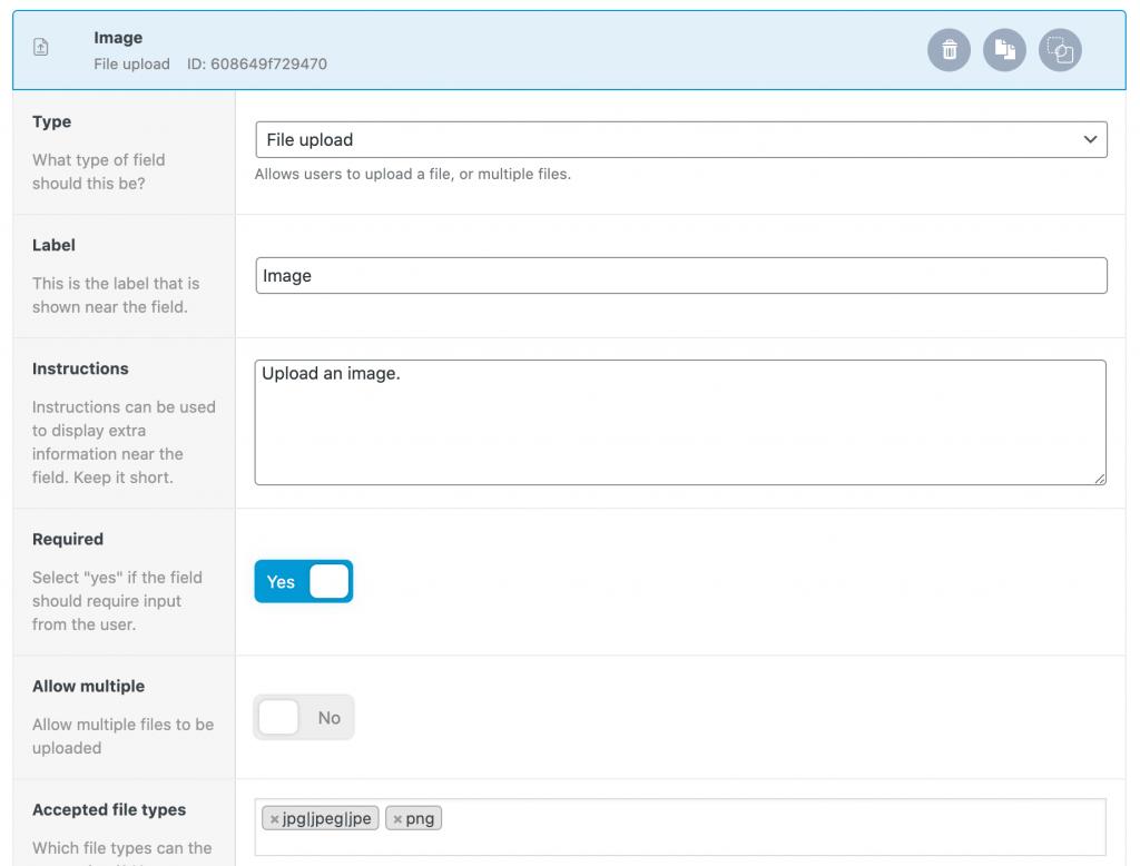 File upload settings