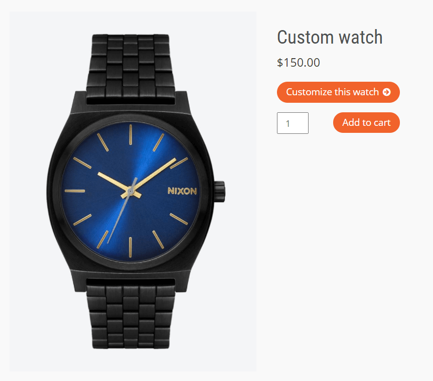 Customize product button opens a popup