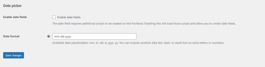 APF date field settings