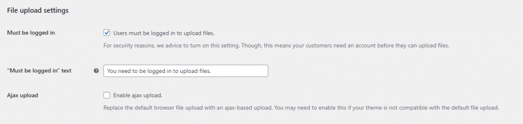 APF file upload settings